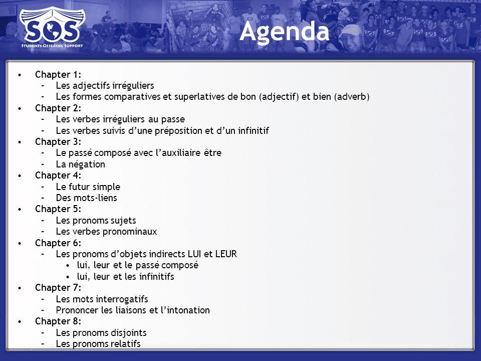 Agenda Chapter 1: –Les adjectifs irréguliers –Les formes comparatives et superlatives de bon (adjectif) et bien (adverb) Chapter 2: –Les verbes irrégu
