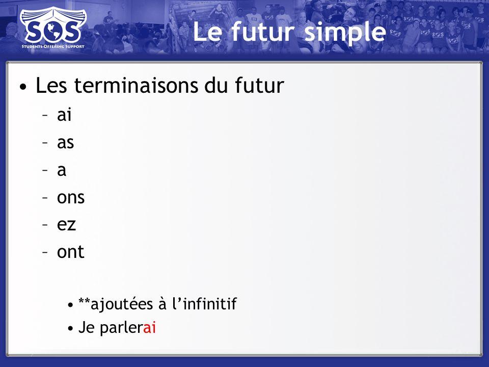 Le futur simple Les terminaisons du futur –ai –as –a –ons –ez –ont **ajoutées à linfinitif Je parlerai