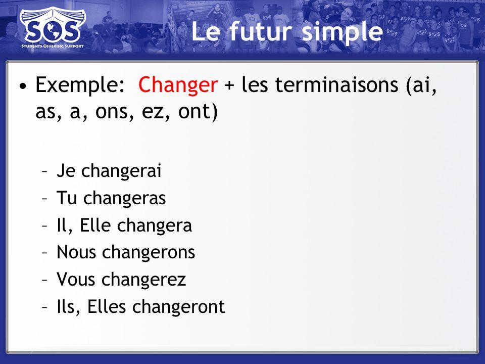 Le futur simple Exemple: Changer + les terminaisons (ai, as, a, ons, ez, ont) –Je changerai –Tu changeras –Il, Elle changera –Nous changerons –Vous ch