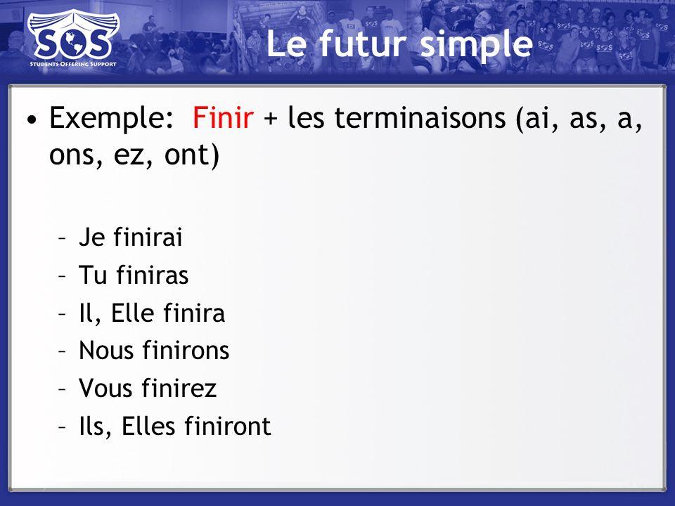 Le futur simple Exemple: Finir + les terminaisons (ai, as, a, ons, ez, ont) –Je finirai –Tu finiras –Il, Elle finira –Nous finirons –Vous finirez –Ils