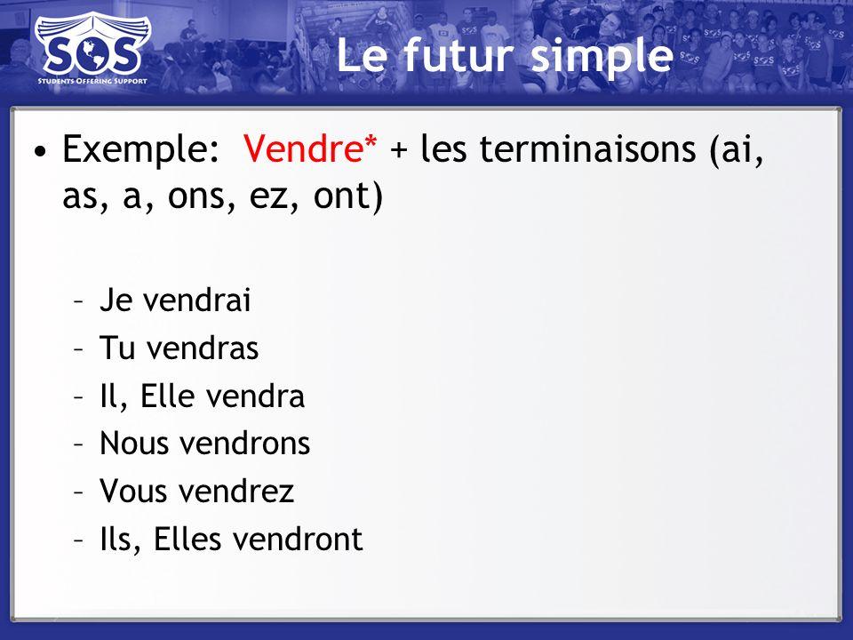 Le futur simple Exemple: Vendre* + les terminaisons (ai, as, a, ons, ez, ont) –Je vendrai –Tu vendras –Il, Elle vendra –Nous vendrons –Vous vendrez –I