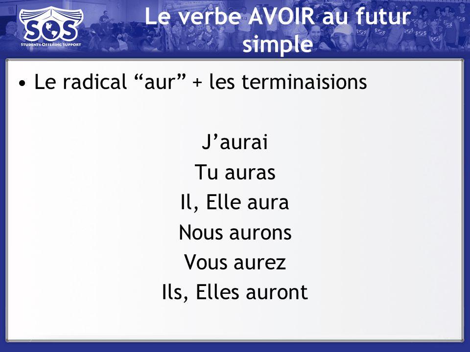 Le verbe AVOIR au futur simple Le radical aur + les terminaisions Jaurai Tu auras Il, Elle aura Nous aurons Vous aurez Ils, Elles auront