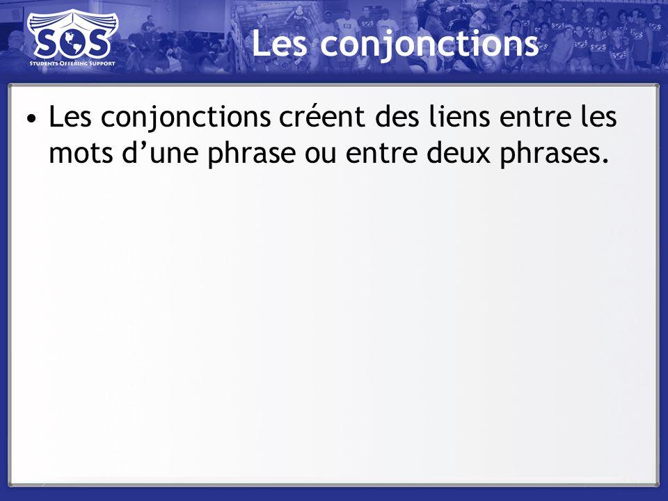 Les conjonctions Les conjonctions créent des liens entre les mots dune phrase ou entre deux phrases.