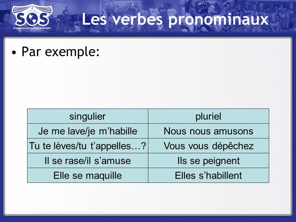 Les verbes pronominaux Par exemple: singulierpluriel Je me lave/je mhabilleNous nous amusons Tu te lèves/tu tappelles…?Vous vous dépêchez Il se rase/i
