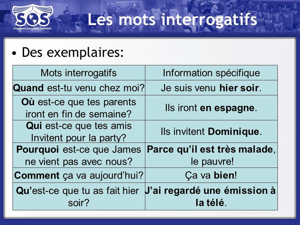 Les mots interrogatifs Des exemplaires: Mots interrogatifsInformation spécifique Quand est-tu venu chez moi? Où est-ce que tes parents iront en fin de