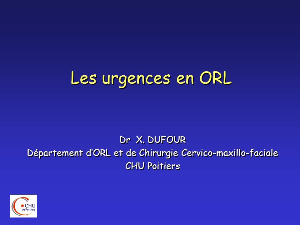Les urgences en ORL Dr X. DUFOUR Département dORL et de Chirurgie Cervico-maxillo-faciale CHU Poitiers Dr X. DUFOUR Département dORL et de Chirurgie C