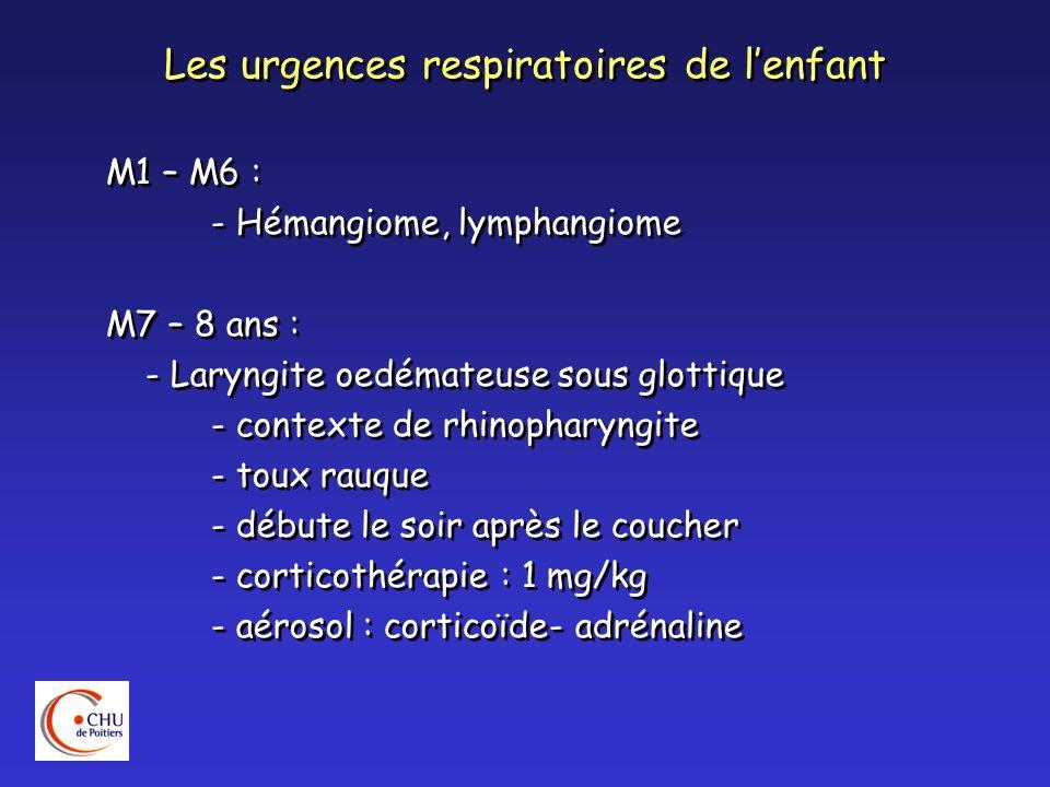 Les urgences respiratoires de lenfant M1 – M6 : - Hémangiome, lymphangiome M7 – 8 ans : - Laryngite oedémateuse sous glottique - contexte de rhinophar