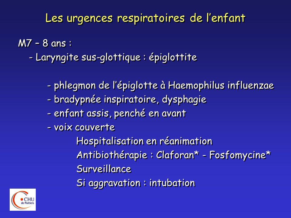 Les urgences respiratoires de lenfant M7 – 8 ans : - Laryngite sus-glottique : épiglottite - phlegmon de lépiglotte à Haemophilus influenzae - bradypn