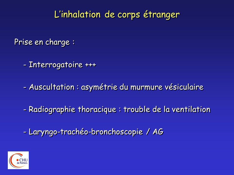 Linhalation de corps étranger Prise en charge : - Interrogatoire +++ - Auscultation : asymétrie du murmure vésiculaire - Radiographie thoracique : tro