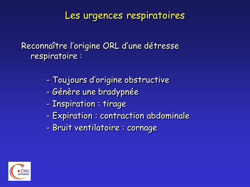 Les urgences respiratoires Reconnaître lorigine ORL dune détresse respiratoire : - Toujours dorigine obstructive - Génère une bradypnée - Inspiration