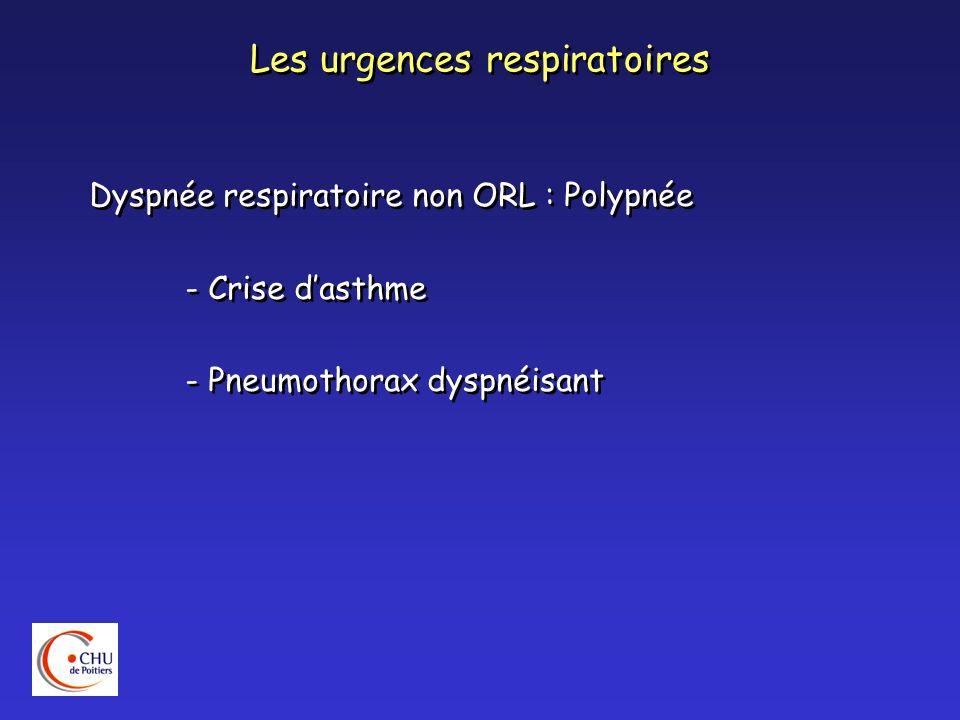 Les urgences respiratoires Evaluer la gravité de la détresse respiratoire : Inspection : - Patient assis, penché en avant - Sueurs : lhypercapnie - Cyanose des extrémités : hypoxie - Tirage intercostal, sus-sternal sus- claviculaire - Troubles neurologiques : conscience, coma : hypercapnie Evaluer la gravité de la détresse respiratoire : Inspection : - Patient assis, penché en avant - Sueurs : lhypercapnie - Cyanose des extrémités : hypoxie - Tirage intercostal, sus-sternal sus- claviculaire - Troubles neurologiques : conscience, coma : hypercapnie