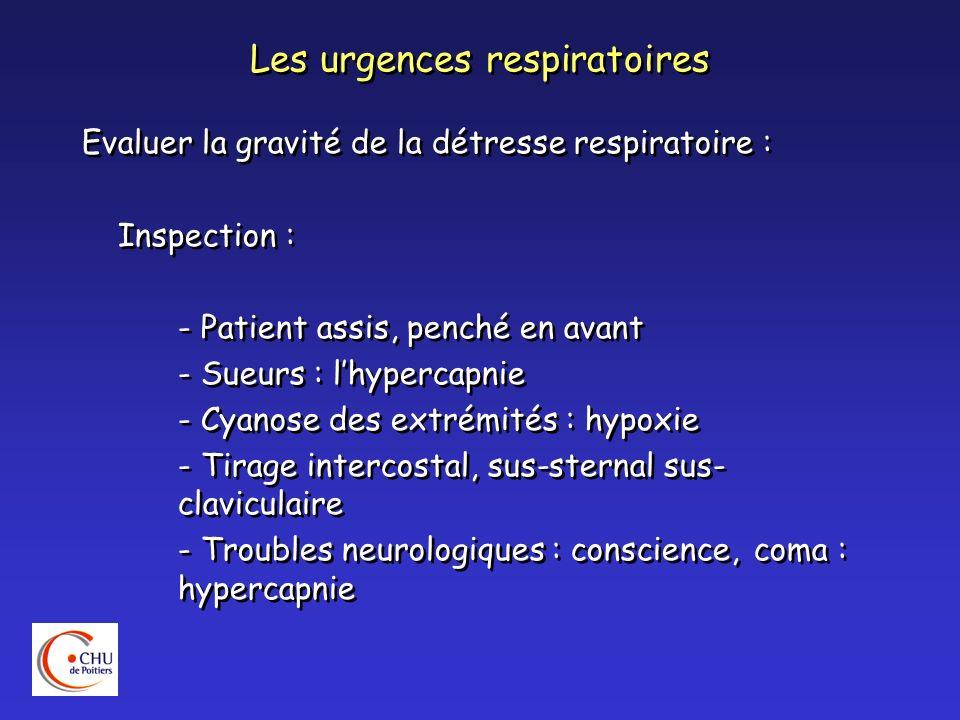 Les urgences respiratoires Evaluer la gravité de la détresse respiratoire : Mesure de la fréquence respiratoire : bradypnée de lutte, puis polypnée dépuisement Mesure de la fréquence cardiaque : tachycardie, HTA : hypercapnie (mesure Sa02) Evaluer la gravité de la détresse respiratoire : Mesure de la fréquence respiratoire : bradypnée de lutte, puis polypnée dépuisement Mesure de la fréquence cardiaque : tachycardie, HTA : hypercapnie (mesure Sa02)