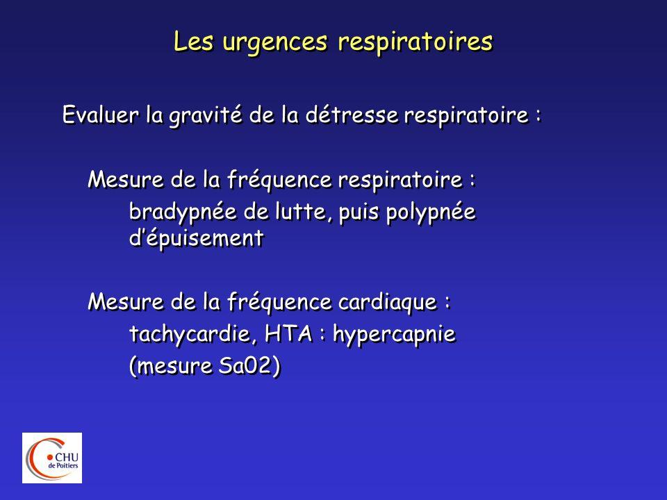 Les urgences respiratoires Localiser lobstacle - Normalisation à louverture buccale : fosse nasales ou cavum - Examen à labaisse langue : oropharynx, cavité buccale - Dyspnée inspiratoire : extra-thoracique - Dyspnée expiratoire : intra-thoracique - Dyspnée aux 2 temps : défilé cervico-thoracique Localiser lobstacle - Normalisation à louverture buccale : fosse nasales ou cavum - Examen à labaisse langue : oropharynx, cavité buccale - Dyspnée inspiratoire : extra-thoracique - Dyspnée expiratoire : intra-thoracique - Dyspnée aux 2 temps : défilé cervico-thoracique