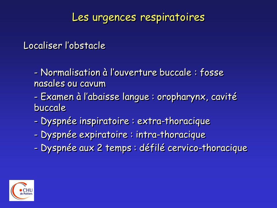 Les urgences respiratoires Localiser lobstacle - Lobstacle est sus jacent au tirage - Toux rauque + gêne insp.: sous-glottique - Toux rauque + gêne exp.: trachée - Dysphonie : atteinte glottique - Voix couverte : sus glottique - Dysphagie : carrefour aérodigestif Localiser lobstacle - Lobstacle est sus jacent au tirage - Toux rauque + gêne insp.: sous-glottique - Toux rauque + gêne exp.: trachée - Dysphonie : atteinte glottique - Voix couverte : sus glottique - Dysphagie : carrefour aérodigestif
