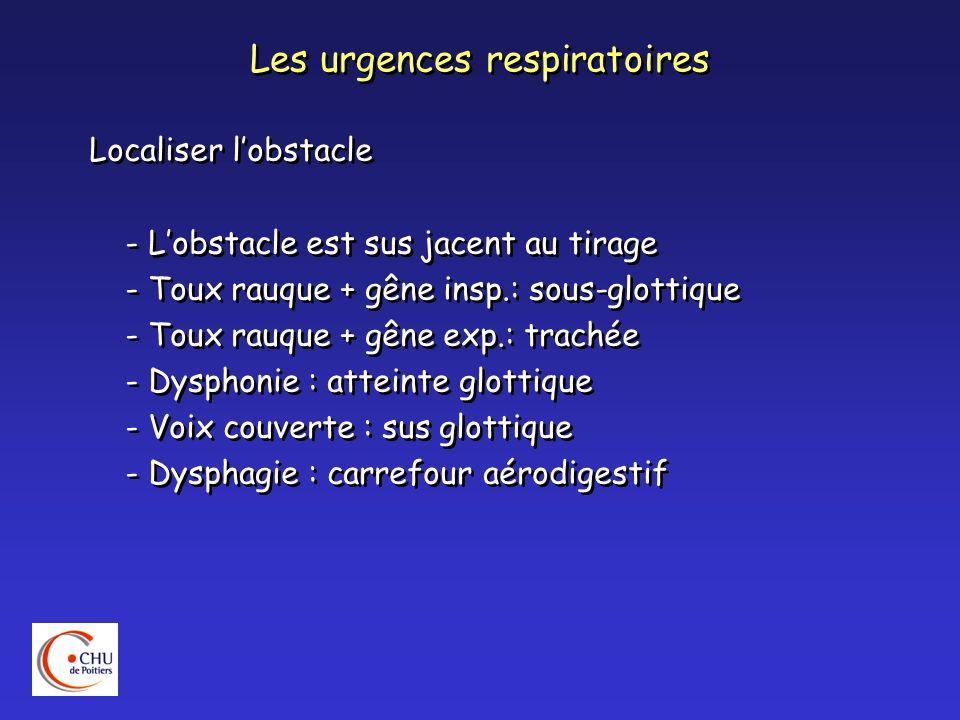 Les urgences respiratoires Dégager les voies aériennes : - Aspiration des sécrétions - Si glossoptose : canule de Guédel - Oxygénation du patient - Intubation - Trachéotomie Dégager les voies aériennes : - Aspiration des sécrétions - Si glossoptose : canule de Guédel - Oxygénation du patient - Intubation - Trachéotomie