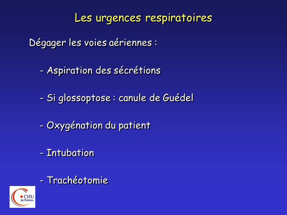 Les urgences respiratoires Dégager les voies aériennes : - Aspiration des sécrétions - Si glossoptose : canule de Guédel - Oxygénation du patient - In
