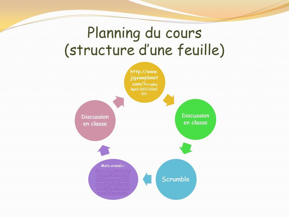 Planning du cours (structure dune feuille) http://www. jigsawplanet.com/? rc=play &pid=3d37cb0af d2c Discussion en classe Scrumble Mots croisés : file