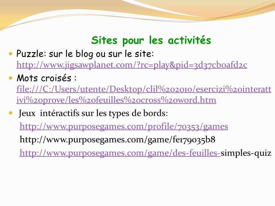 Sites pour les activités Puzzle: sur le blog ou sur le site: http://www.jigsawplanet.com/?rc=play&pid=3d37cb0afd2c http://www.jigsawplanet.com/?rc=pla