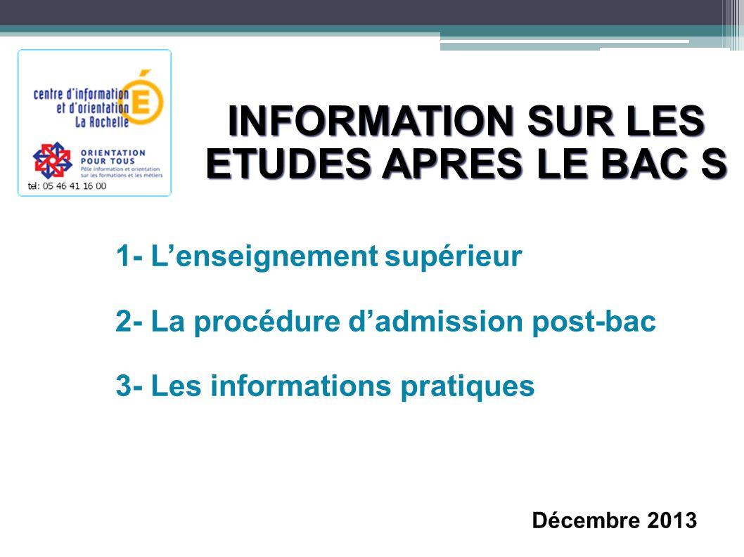 INFORMATION SUR LES ETUDES APRES LE BAC S 1- Lenseignement supérieur 2- La procédure dadmission post-bac 3- Les informations pratiques Décembre 2013