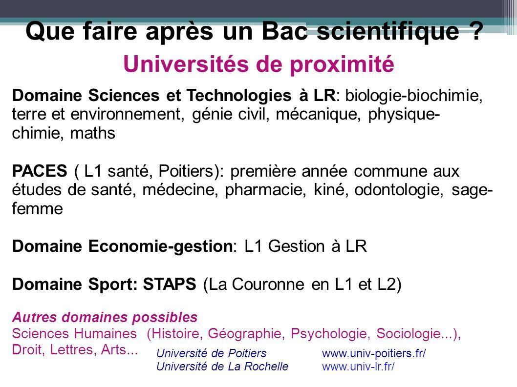 Universités de proximité Domaine Sciences et Technologies à LR: biologie-biochimie, terre et environnement, génie civil, mécanique, physique- chimie,