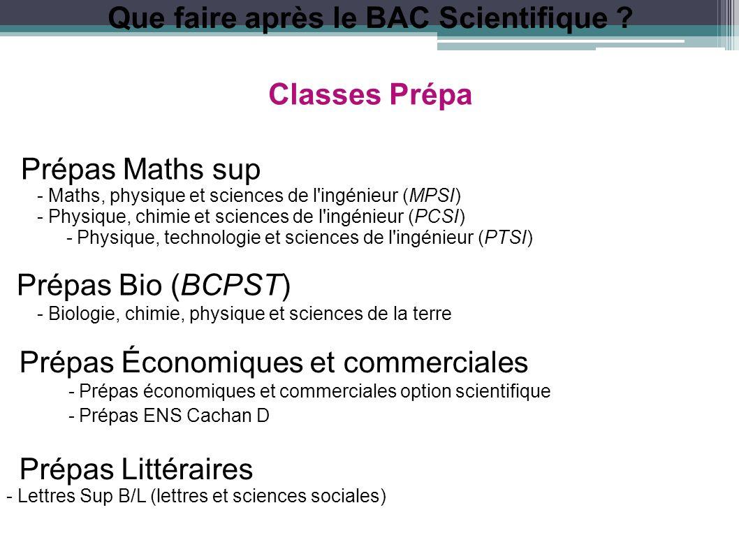 Que faire après le BAC Scientifique ? Classes Prépa Prépas Maths sup - Maths, physique et sciences de l'ingénieur (MPSI) - Physique, chimie et science