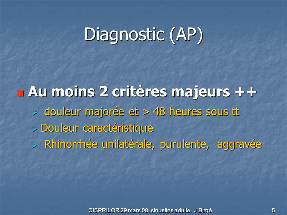 CISPRILOR 29 mars 08. sinusites adulte. J.Birgé 5 Diagnostic (AP) Au moins 2 critères majeurs ++ Au moins 2 critères majeurs ++ douleur majorée et > 4