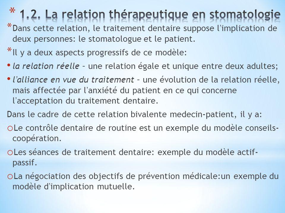* Dans cette relation, le traitement dentaire suppose limplication de deux personnes: le stomatologue et le patient.