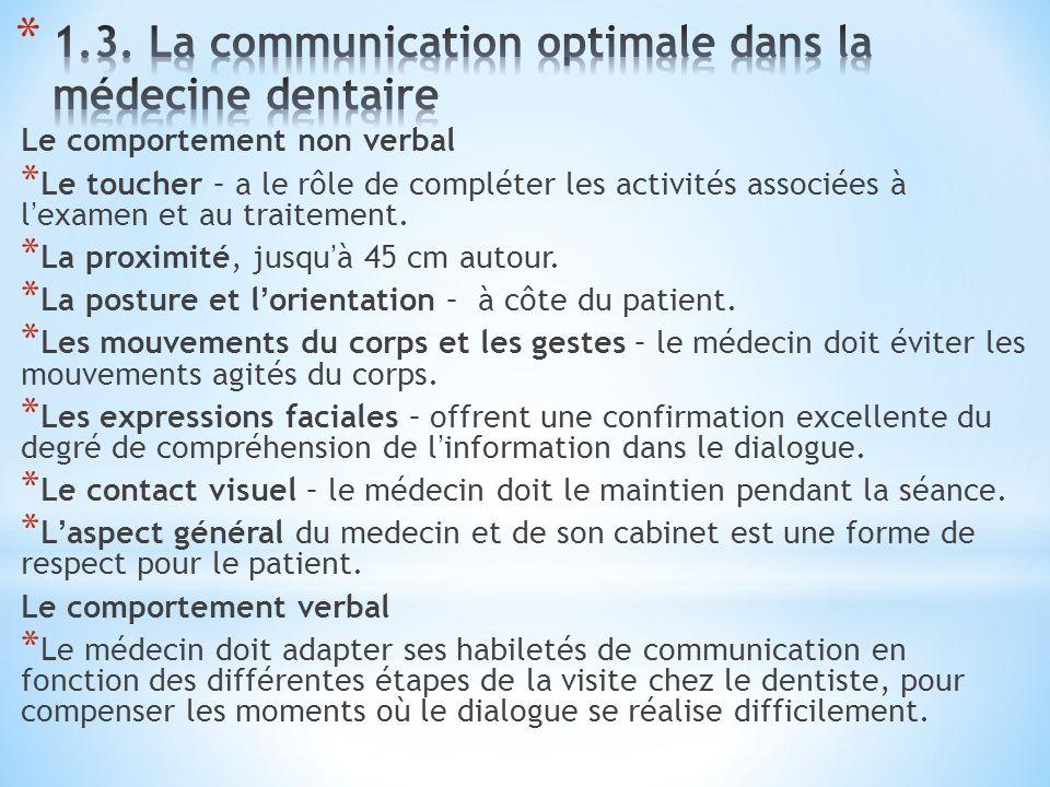 Le comportement non verbal * Le toucher – a le rôle de compléter les activités associées à lexamen et au traitement.