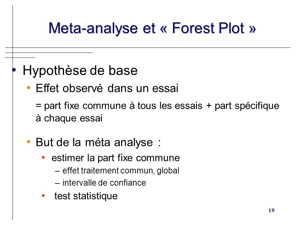 19 Meta-analyse et « Forest Plot » Meta-analyse et « Forest Plot » Hypothèse de base Effet observé dans un essai = part fixe commune à tous les essais + part spécifique à chaque essai But de la méta analyse : estimer la part fixe commune –effet traitement commun, global –intervalle de confiance test statistique