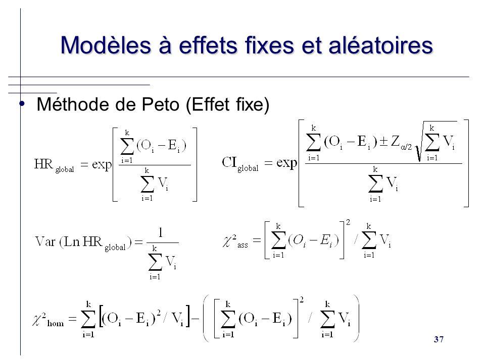 37 Modèles à effets fixes et aléatoires Modèles à effets fixes et aléatoires Méthode de Peto (Effet fixe)