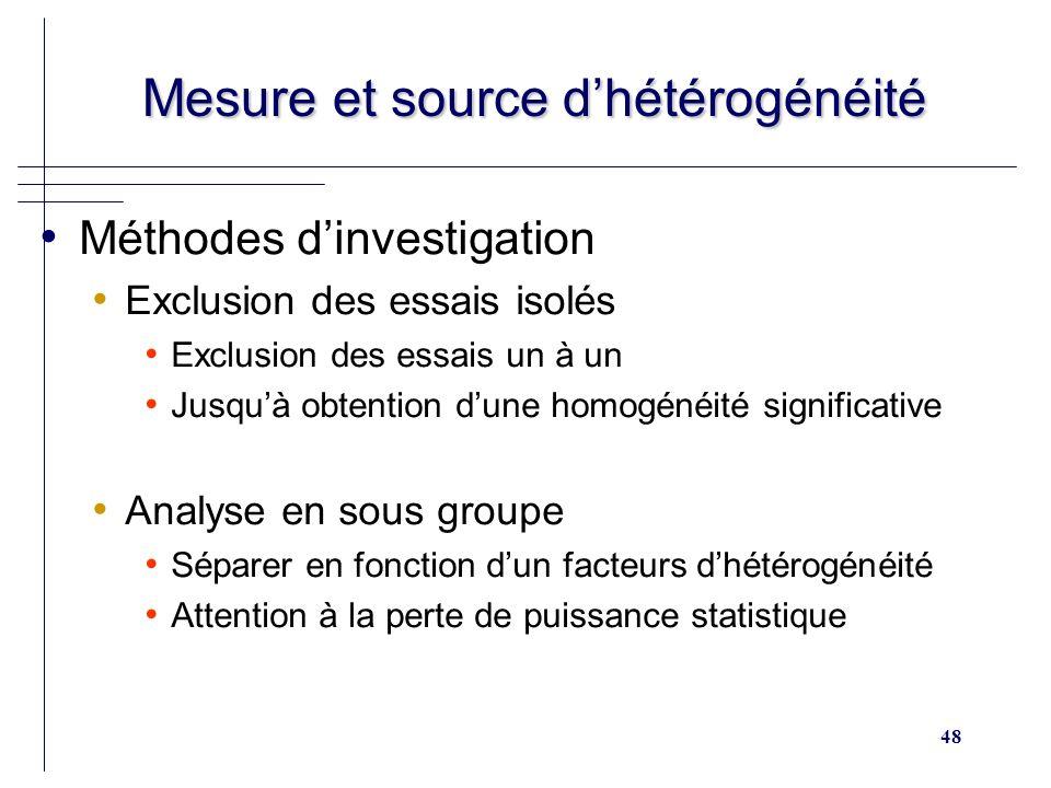 48 Mesure et source dhétérogénéité Mesure et source dhétérogénéité Méthodes dinvestigation Exclusion des essais isolés Exclusion des essais un à un Ju
