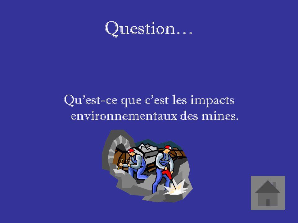 Réponse… Les montagnes décapitiés La pollution des eaux et des habitats Les maladies qui affectent les humains et les animaux a cause des chimiques.