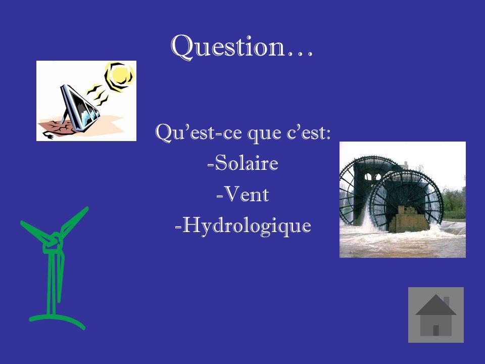 Réponse… Trois types dénergie renouvelables.