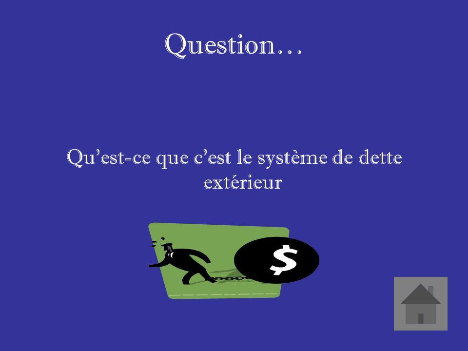 Réponse… Quand les pays donnent leurs ressources naturelles comme les arbres de leurs forets pour payer leurs dettes dargent.
