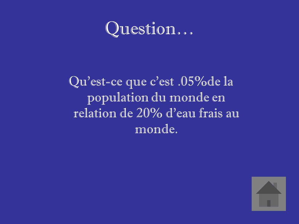 Réponse… Le pourcentage de la population du Canada en relation du montant deau frais au Canada.