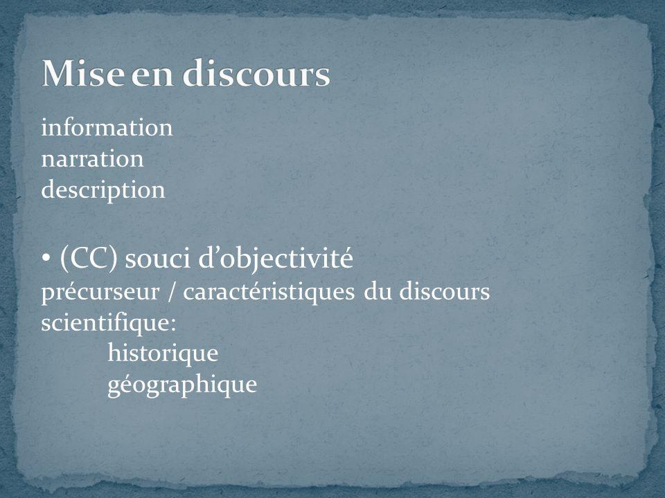 information narration description (CC) souci dobjectivité précurseur / caractéristiques du discours scientifique: historique géographique