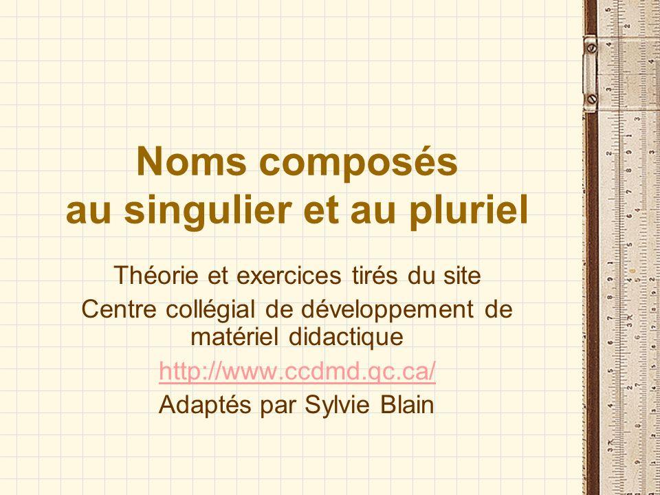 Noms composés au singulier et au pluriel Théorie et exercices tirés du site Centre collégial de développement de matériel didactique http://www.ccdmd.qc.ca/ Adaptés par Sylvie Blain