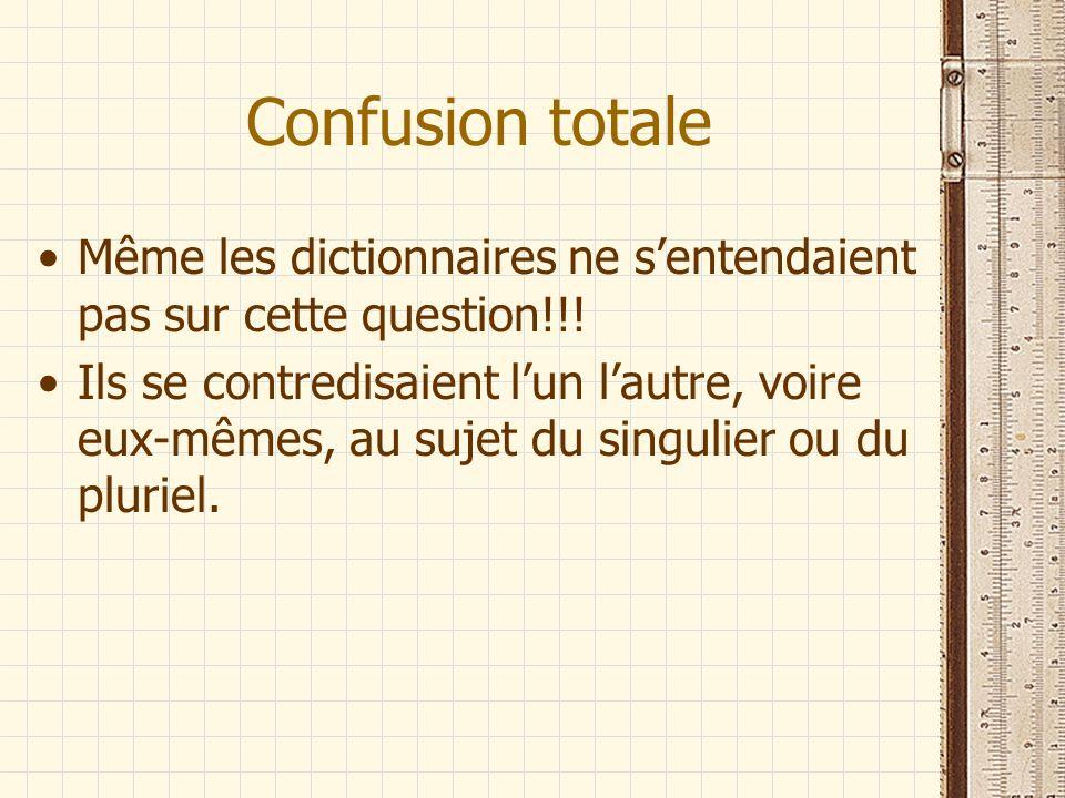 Confusion totale Même les dictionnaires ne sentendaient pas sur cette question!!! Ils se contredisaient lun lautre, voire eux-mêmes, au sujet du singu