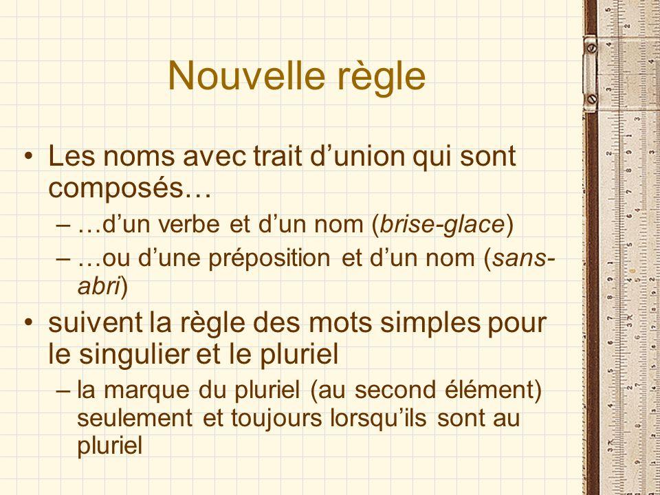 Nouvelle règle Les noms avec trait dunion qui sont composés… –…dun verbe et dun nom (brise-glace) –…ou dune préposition et dun nom (sans- abri) suiven