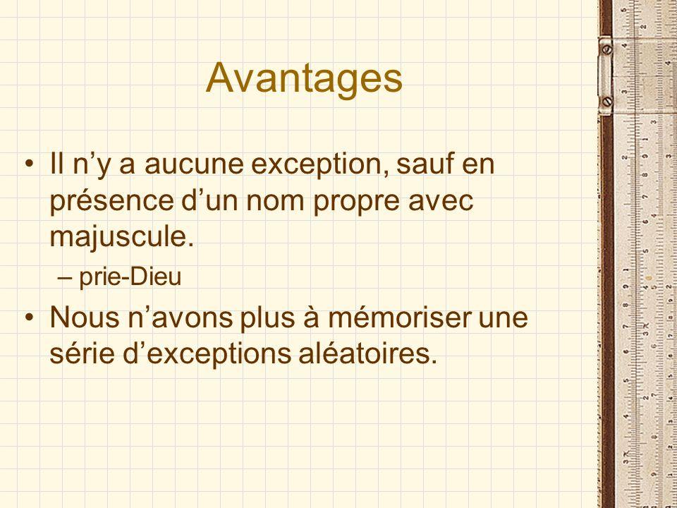 Avantages Il ny a aucune exception, sauf en présence dun nom propre avec majuscule.