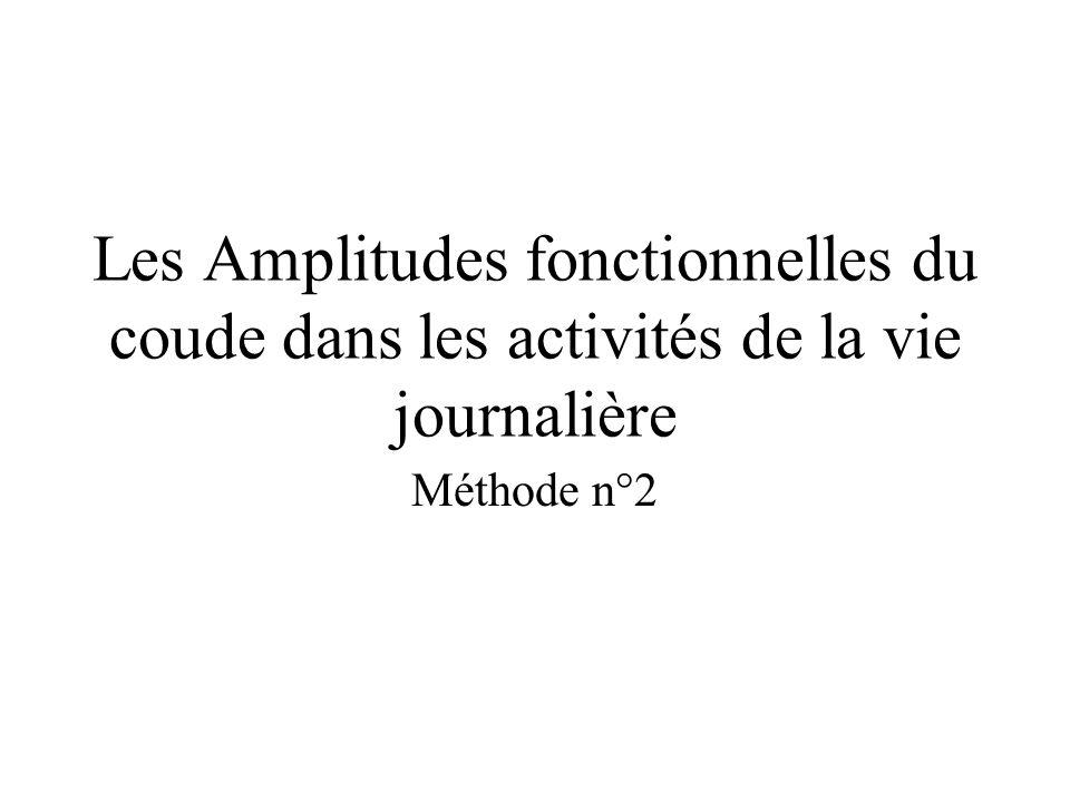 Les Amplitudes fonctionnelles du coude dans les activités de la vie journalière Méthode n°2