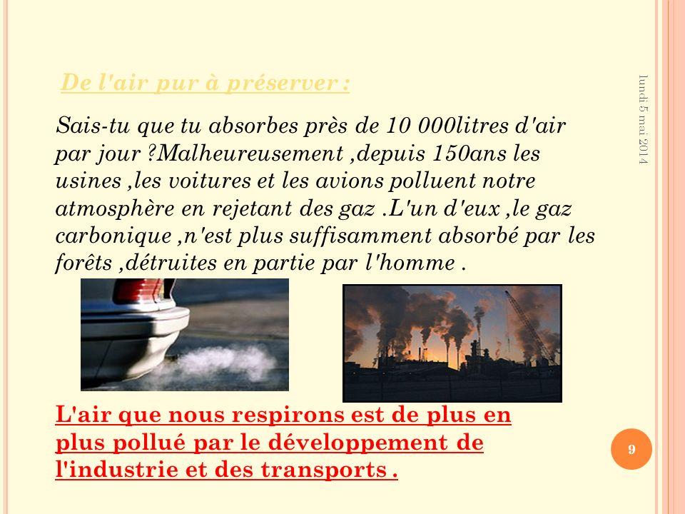 lundi 5 mai 2014 9 Sais-tu que tu absorbes près de 10 000litres d air par jour ?Malheureusement,depuis 150ans les usines,les voitures et les avions polluent notre atmosphère en rejetant des gaz.L un d eux,le gaz carbonique,n est plus suffisamment absorbé par les forêts,détruites en partie par l homme.