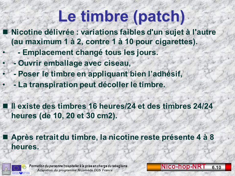 Nico-hop-NRT 6.10 Formation du personnel hospitalier à la prise en charge du tabagisme Adapation du programme Nicomède DGS France Le timbre (patch) Nicotine délivrée : variations faibles d un sujet à l autre (au maximum 1 à 2, contre 1 à 10 pour cigarettes).