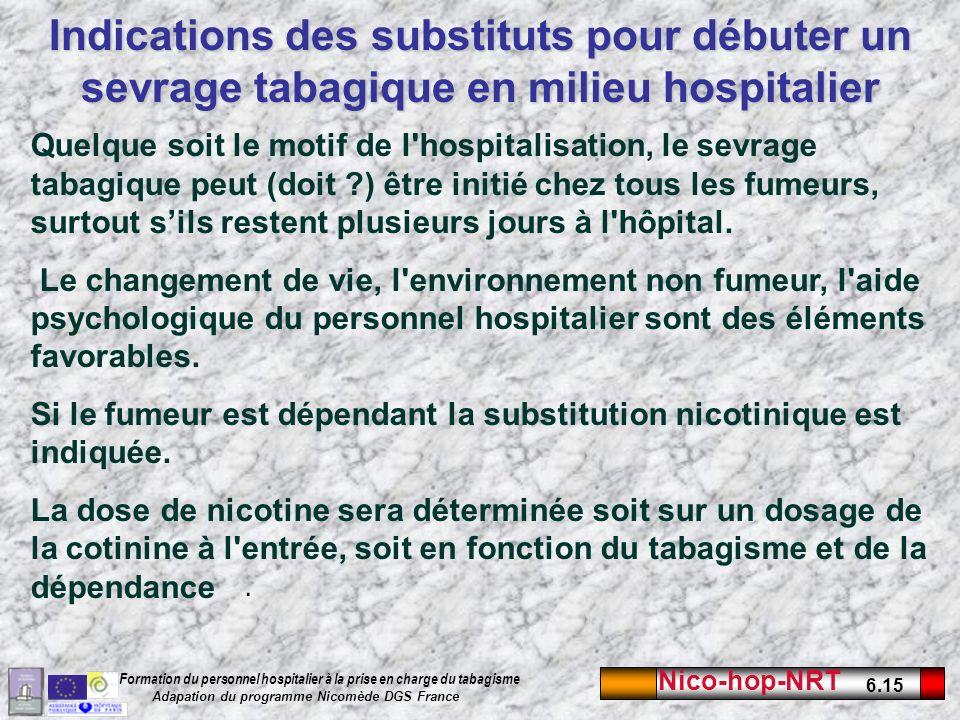 Nico-hop-NRT 6.15 Formation du personnel hospitalier à la prise en charge du tabagisme Adapation du programme Nicomède DGS France Indications des substituts pour débuter un sevrage tabagique en milieu hospitalier.