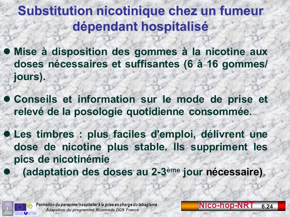 Nico-hop-NRT 6.24 Formation du personnel hospitalier à la prise en charge du tabagisme Adapation du programme Nicomède DGS France Substitution nicotinique chez un fumeur dépendant hospitalisé Mise à disposition des gommes à la nicotine aux doses nécessaires et suffisantes (6 à 16 gommes/ jours).