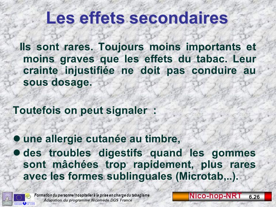 Nico-hop-NRT 6.26 Formation du personnel hospitalier à la prise en charge du tabagisme Adapation du programme Nicomède DGS France Les effets secondaires Ils sont rares.