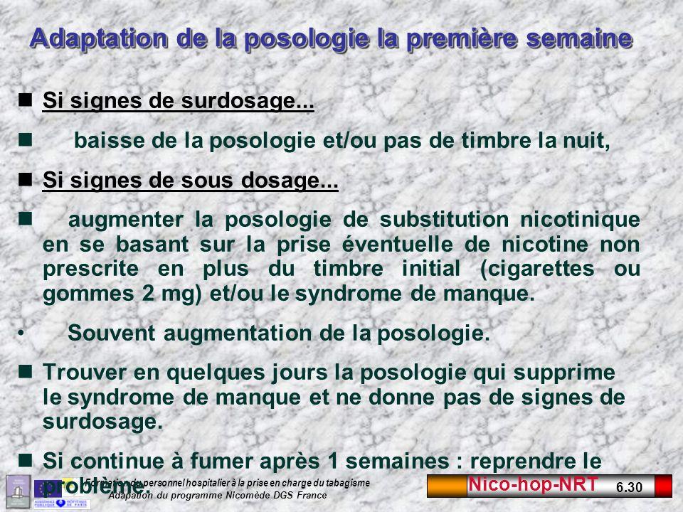 Nico-hop-NRT 6.30 Formation du personnel hospitalier à la prise en charge du tabagisme Adapation du programme Nicomède DGS France Adaptation de la posologie la première semaine Si signes de surdosage...