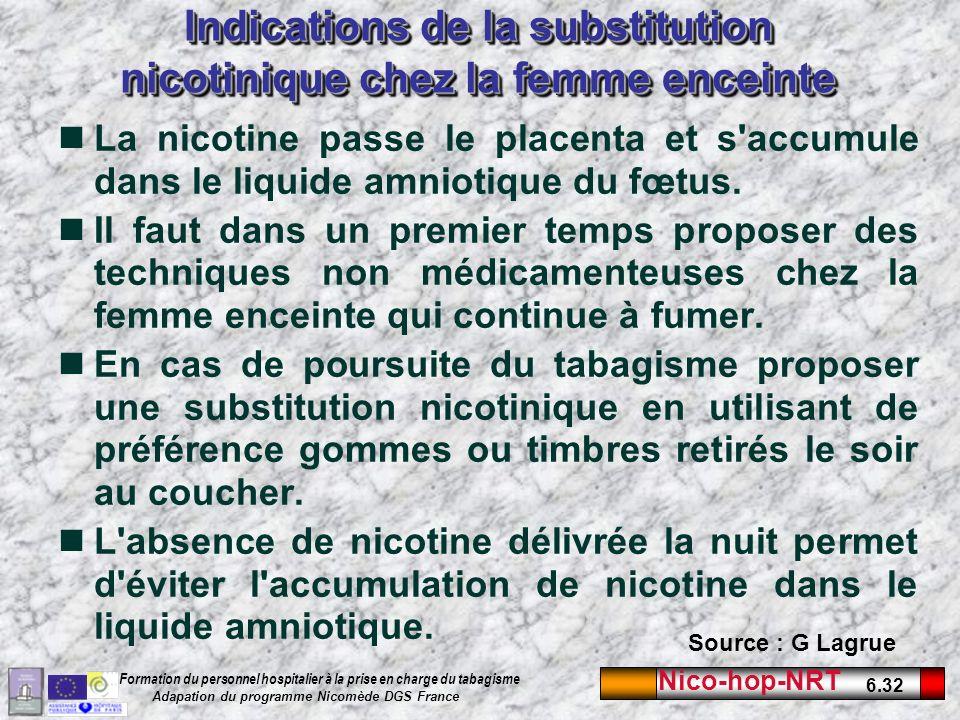 Nico-hop-NRT 6.32 Formation du personnel hospitalier à la prise en charge du tabagisme Adapation du programme Nicomède DGS France Indications de la substitution nicotinique chez la femme enceinte La nicotine passe le placenta et s accumule dans le liquide amniotique du fœtus.