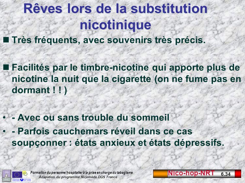 Nico-hop-NRT 6.34 Formation du personnel hospitalier à la prise en charge du tabagisme Adapation du programme Nicomède DGS France Rêves lors de la substitution nicotinique Très fréquents, avec souvenirs très précis.