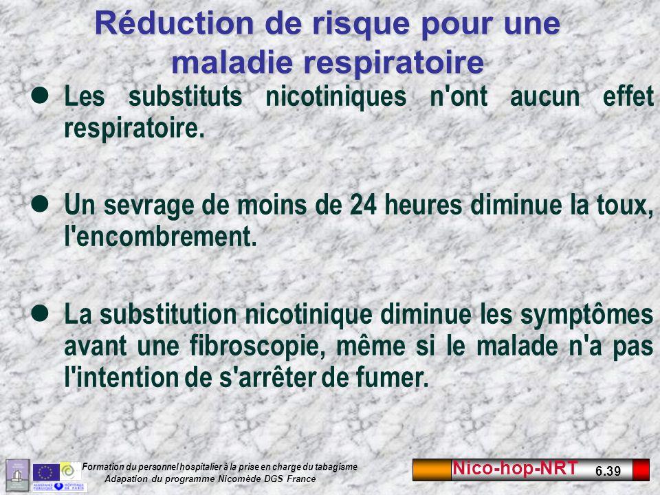 Nico-hop-NRT 6.39 Formation du personnel hospitalier à la prise en charge du tabagisme Adapation du programme Nicomède DGS France Les substituts nicotiniques n ont aucun effet respiratoire.